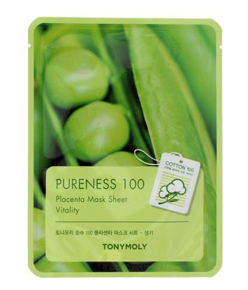 TONY MOLY PURENESS 100 Placenta roślinna Koreańska energetyzująca maska na płachcie 21ml
