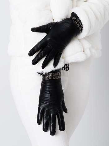 TRENDY Czarne ocieplane skórzane rękawiczki z ćwiekami