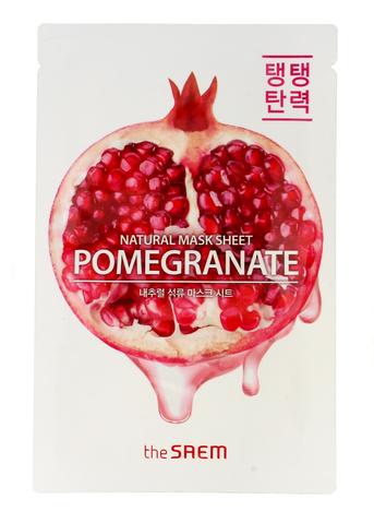 The SAEM Natural Mask Sheet Koreańska maska na tkaninie Pomegranate nawilżająco-uelastyczniająca 21 ml