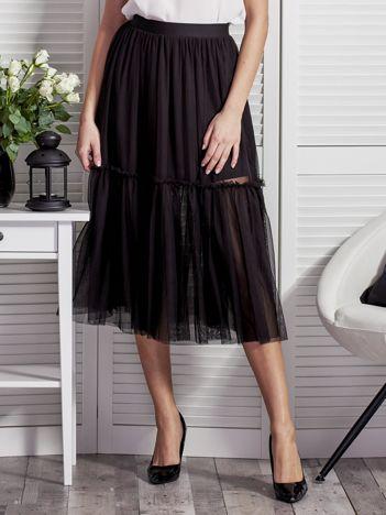 Tiulowa warstwowa spódnica damska czarna