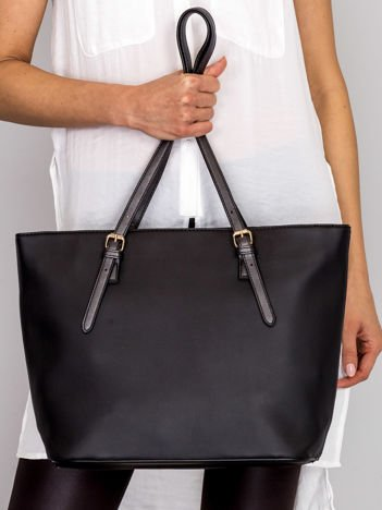 Torba shopper czarna z klapką