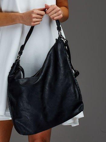 Torba shopper z ozdobną wstawką czarna