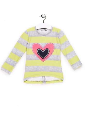 Tunika dla dziewczynki w paski z sercem żółta