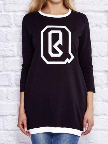 Tunika dresowa z naszywką litery Q i ściągaczami czarna