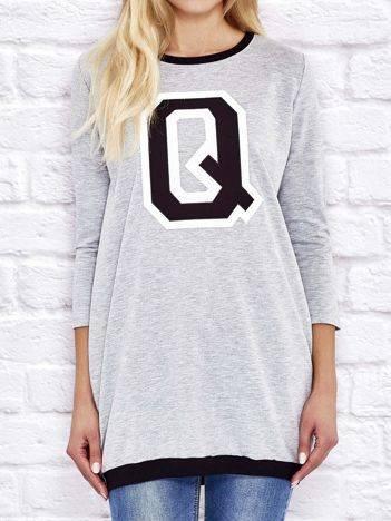Tunika dresowa z naszywką litery Q i ściągaczami szara