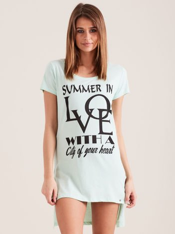 Tunika miętowa bawełniana SUMMER IN LOVE
