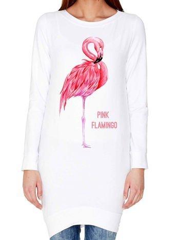 Tunika z nadrukiem flaminga biała