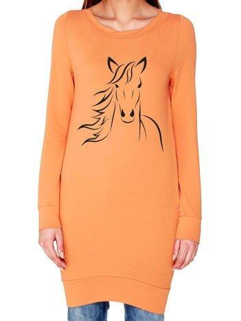 Tunika z nadrukiem konia jasnopomarańczowa
