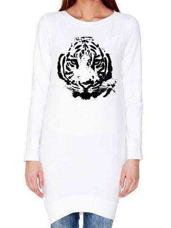 Tunika z nadrukiem tygrysa biała