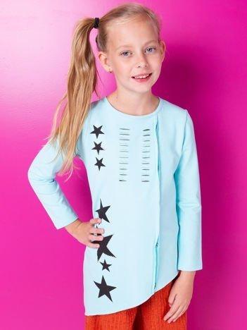 Turkusowa asymetryczna tunika dziewczęca z gwiazdkami