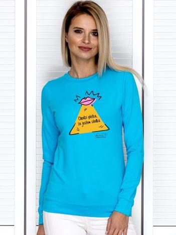 Turkusowa bluza damska JESTEM SŁODKA by Markus P