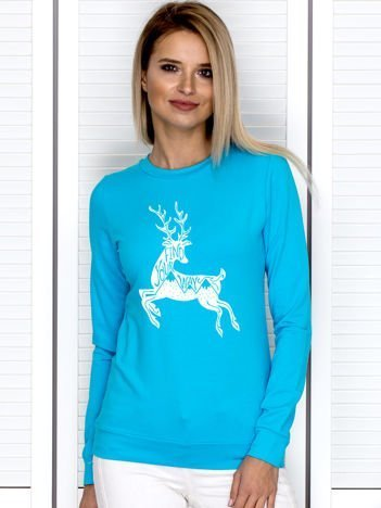 Turkusowa bluza z zimowym motywem