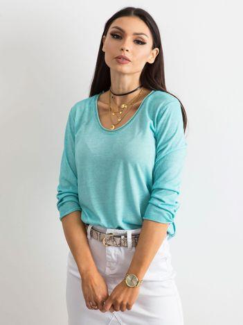 Turkusowa bluzka damska z błyszczącą nicią