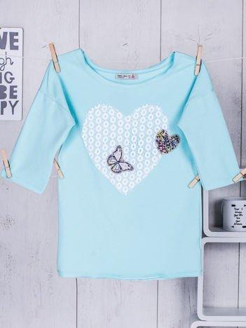 Turkusowa bluzka dla dziewczynki z sercem