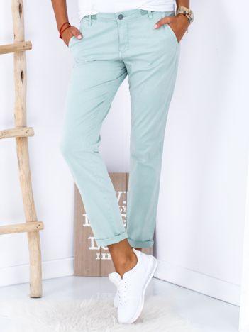 Turkusowe materiałowe spodnie o prostym kroju