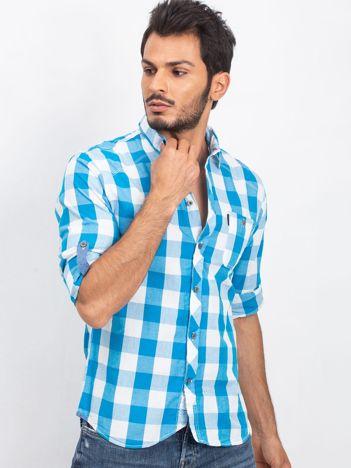 Turkusowo-biała koszula męska Afterparty