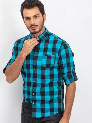 Turkusowo-czarna koszula męska Foreigner