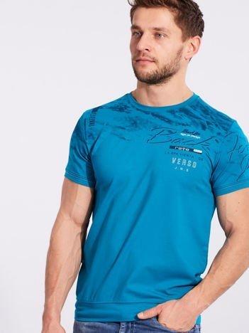Turkusowy bawełniany męski t-shirt z nadrukiem