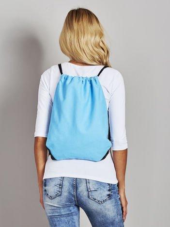 Turkusowy płócienny plecak worek