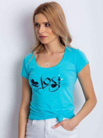 Turkusowy t-shirt Lost