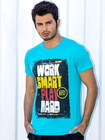 Turkusowy t-shirt męski Work Smart