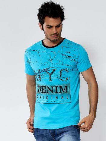Turkusowy t-shirt męski urban print