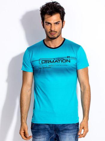 Turkusowy t-shirt męski z geometrycznym nadrukiem