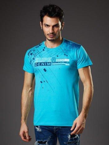 Turkusowy t-shirt męski z graficznym motywem