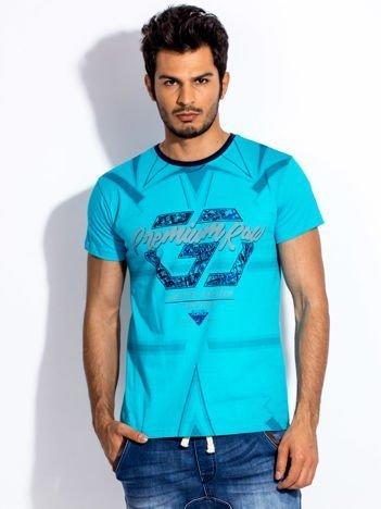 Turkusowy t-shirt męski z graficznym printem