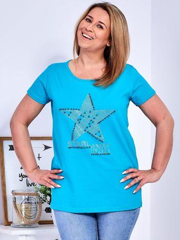 Turkusowy t-shirt z błyszczącą gwiazdą PLUS SIZE