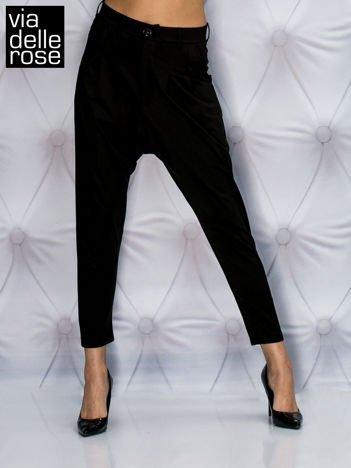 VIA DELLE ROSE Czarne spodnie z marszczeniami