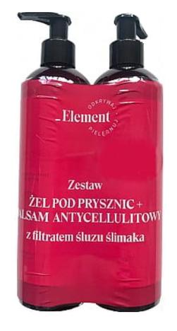 Vis Plantis Element Filtrat Śluzu Ślimaka Zestaw do ciała Żel pod prysznic + Balsam antycellulitowy 150ml + 150ml
