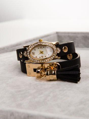 WRAP owijany wokół nadgarstka czarny zegarek damski  z chwostem