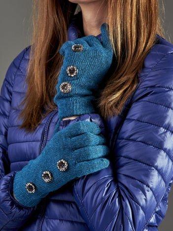 Wełniane rękawiczki damskie dotykowe ciemnozielone