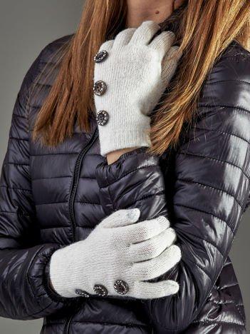 Wełniane rękawiczki damskie dotykowe ecru