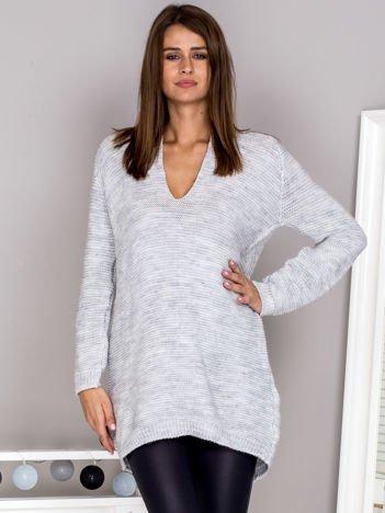 Wełniany sweter V-neck jasnoszary