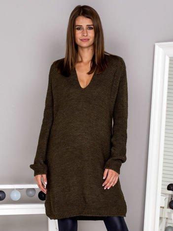 Wełniany sweter V-neck khaki