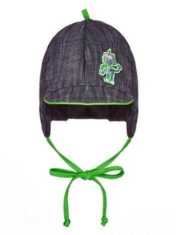 Wiązana czapka chłopięca z naszywką robota i daszkiem szaro-zielona