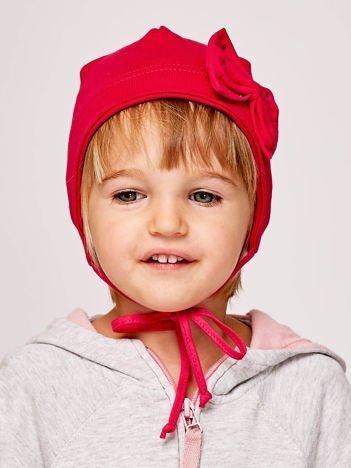 Wiązana czapka dziewczęca z ozdobną kokardą ciemnoróżowa