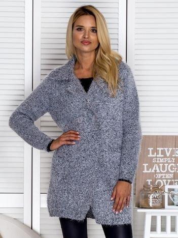 Włochaty sweter damski o kroju płaszcza szary