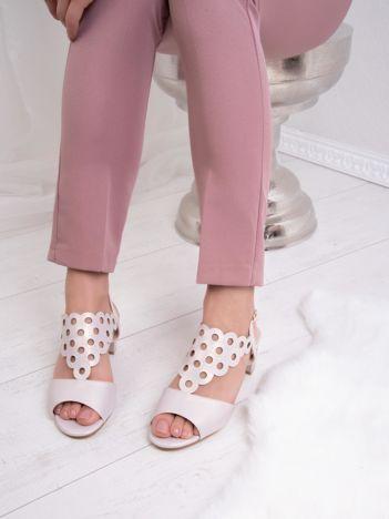 Wrzosowe sandały SERGIO LEONE z ozdobnym ażurowym przodem