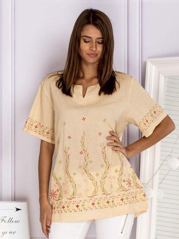 Wzorzysta bluzka koszulowa oversize beżowa