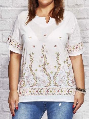 Wzorzysta bluzka koszulowa oversize biała