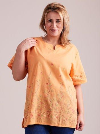 Wzorzysta bluzka koszulowa oversize pomarańczowa