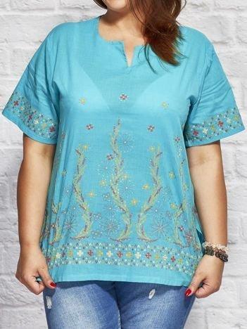 Wzorzysta bluzka koszulowa oversize turkusowa