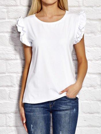YUPS Biały t-shirt z falbanami