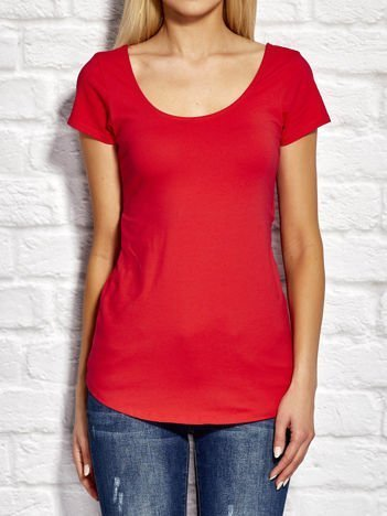 YUPS Czerwony asymetryczny t-shirt