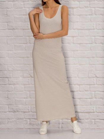 YUPS Ecru długa sukienka letnia w paski