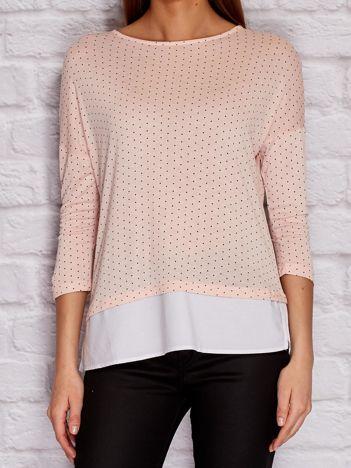 YUPS Różowa bluzka w kropki z koszulą
