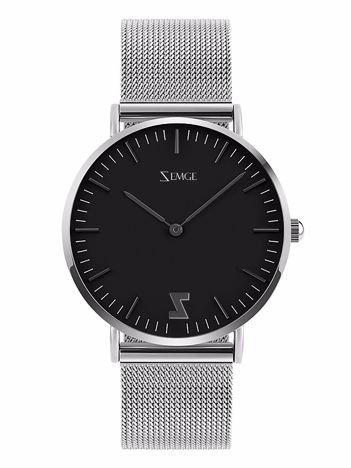 ZEMGE Zegarek damski czarno-srebrny na bransolecie typu MESH Eleganckie pudełko prezentowe w komplecie